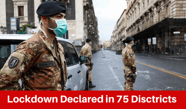 Lockdown in 75 districts